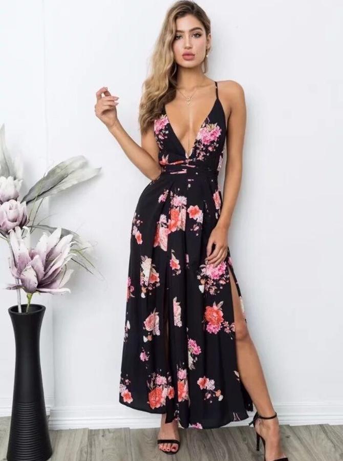 Black Deep V-Neck Floral Backless Dressy Jumpsuit фото