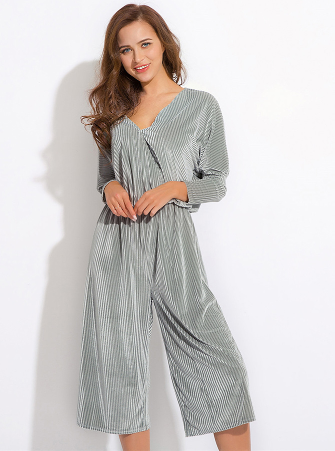 V-Neck Long Sleeves Pleated Silver Cropped Jumpsuit фото