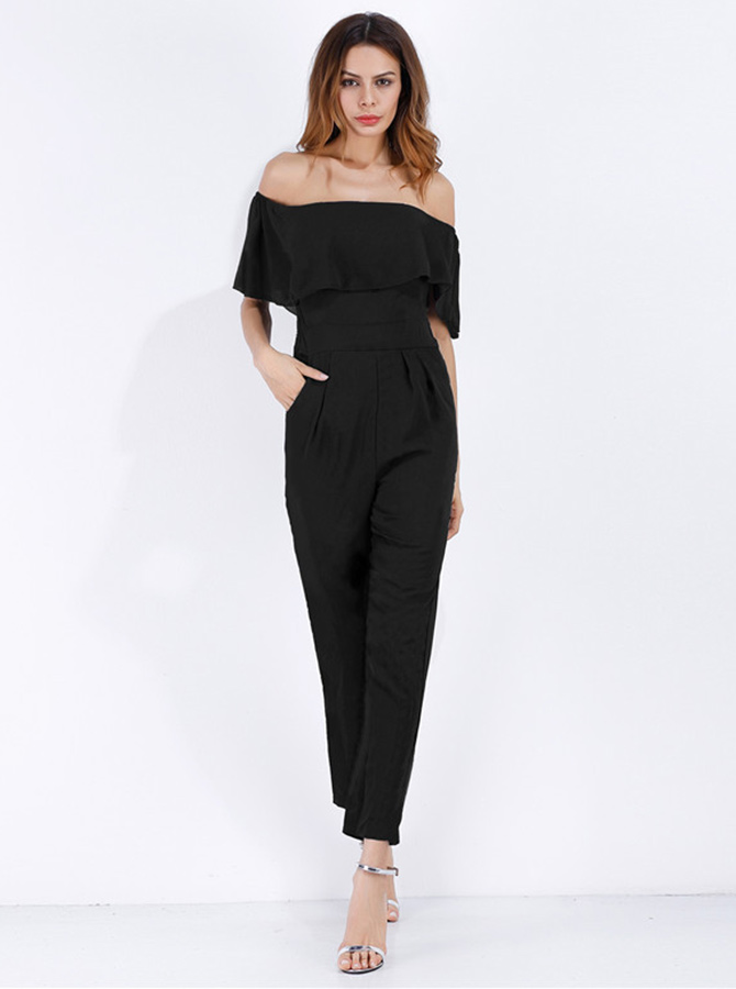Off the Shoulder Pockets Black Formal Jumpsuit фото