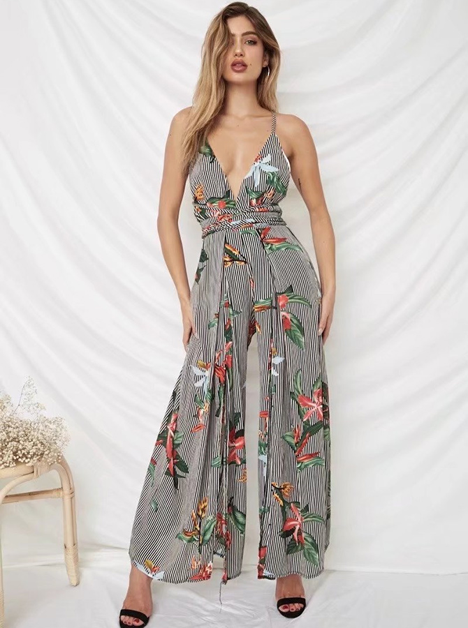 Plunge V-Neck Backless Floral Striped Jumpsuit фото