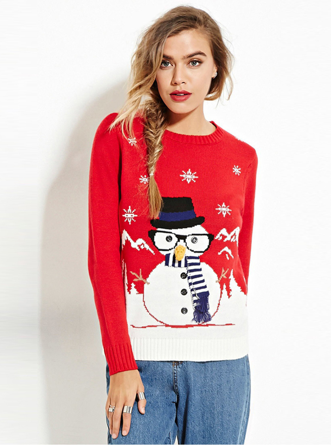 Red Crew Neck Long Sleeves Snowman Printed Cute Christmas Sweaters фото