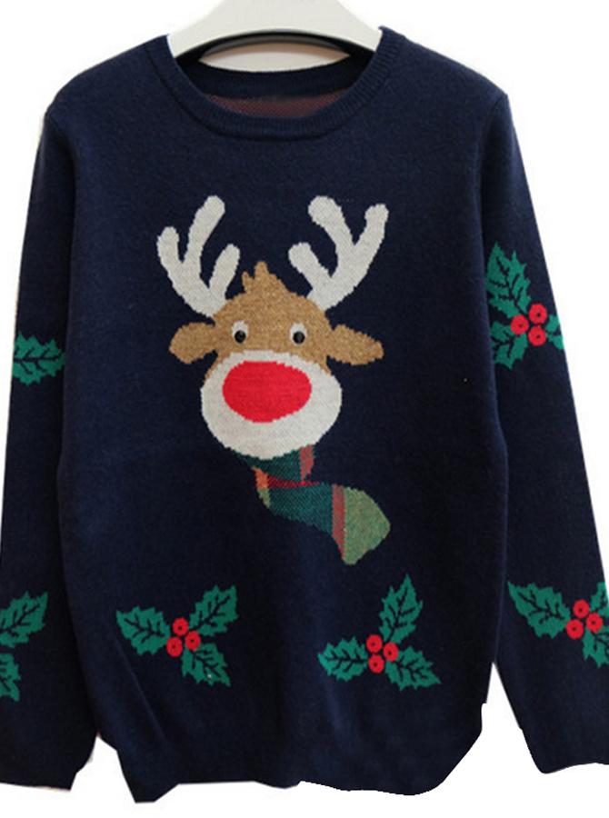 Navy Blue Crew Neck Santa Printed Christmas Womens Oversized Sweaters фото