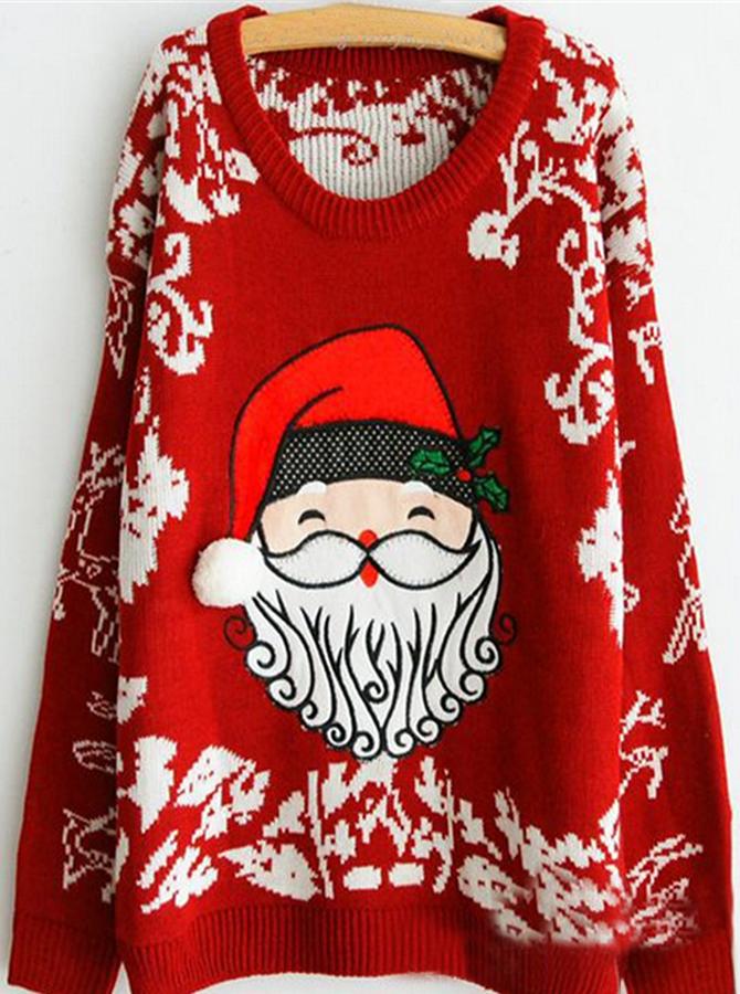 Black Crew Neck Santa Printed Christmas Women's Oversized Sweaters
