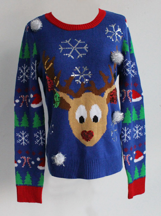 Multi Color Crew Neck Long Sleeves Reindeer Ugly Christmas Sweaters