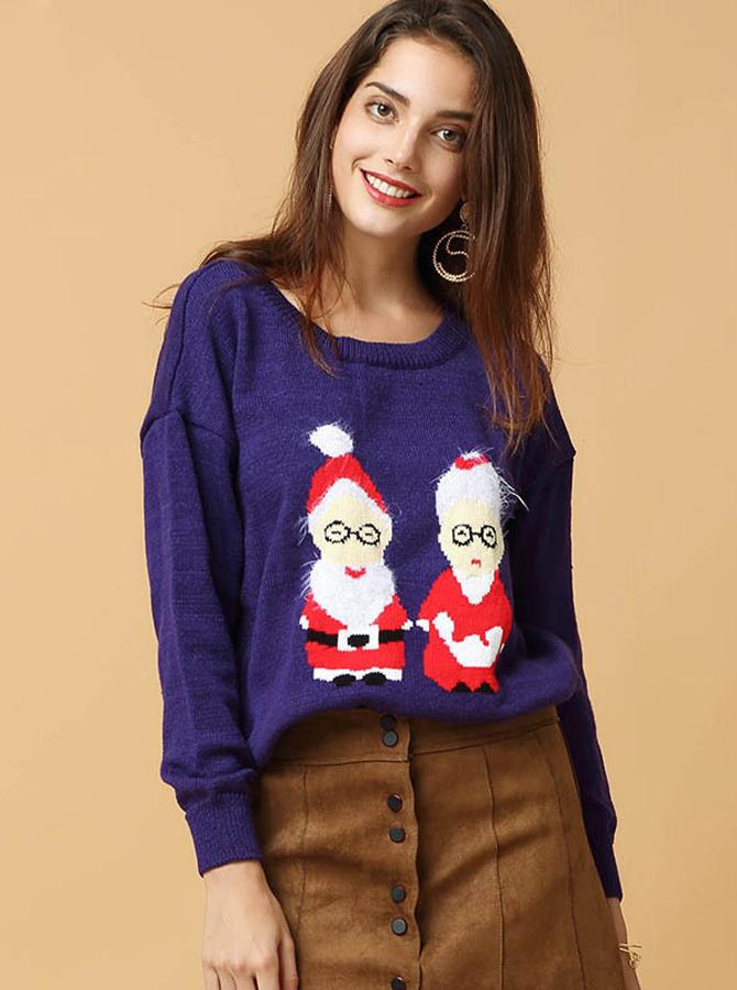 Simple-dress / Dark Blue Round Neck Long Sleeves Women's Oversized Sweaters