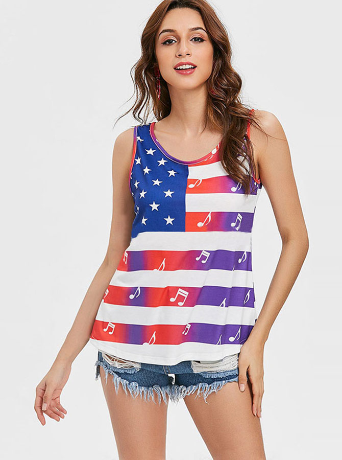 Star Striped Musical Note Print Patriotic T-Shirt фото