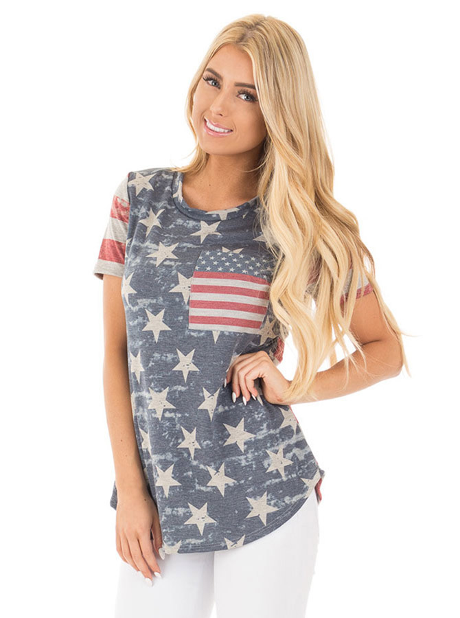 Patchwork Star Striped Print July of 4th Patriotic Tee фото