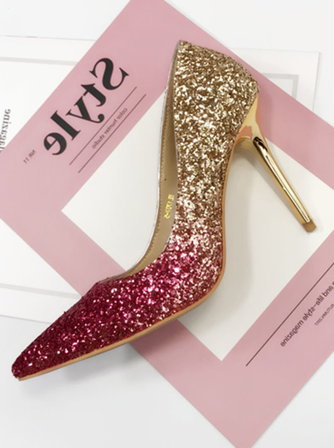 Burgundy Ombre Pointy Toe Stiletto Pumps Heels with Sequins фото