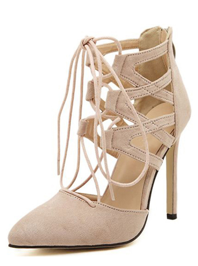 Nude Pointy Toe Stiletto Strappy Hollow-Out Heels фото