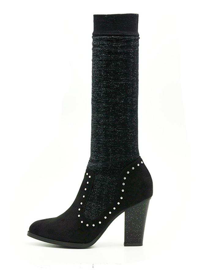 Black Chunky High Heel Tall Boots For Women фото