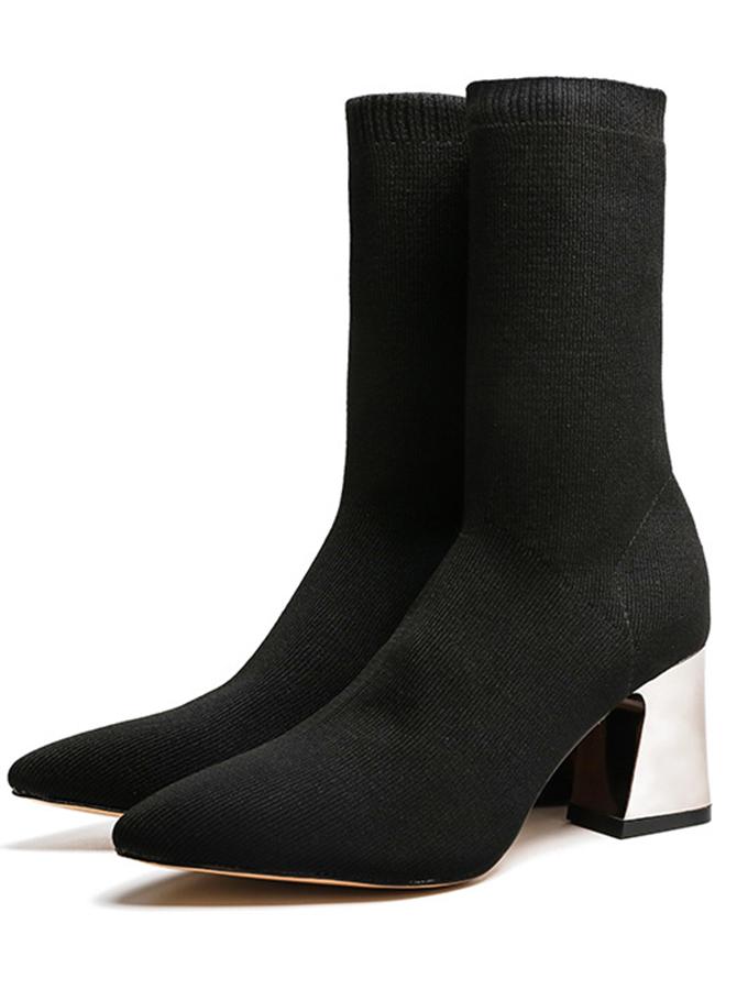 Chunky High Heel Black Mid Calf Womens Boots фото