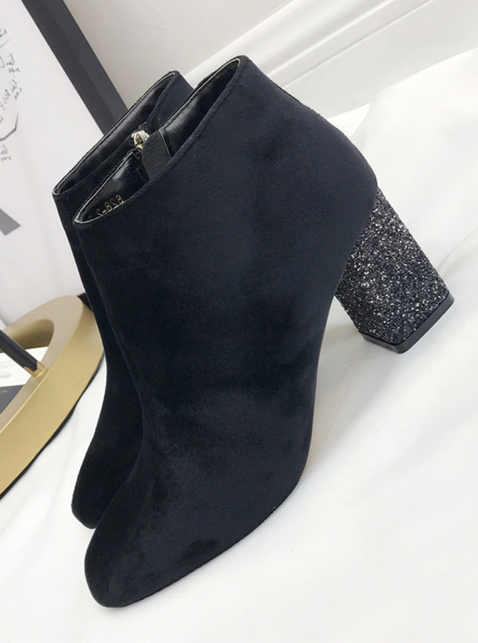 Sparkly Chunky High Heel Black Ankle Womens Boots фото