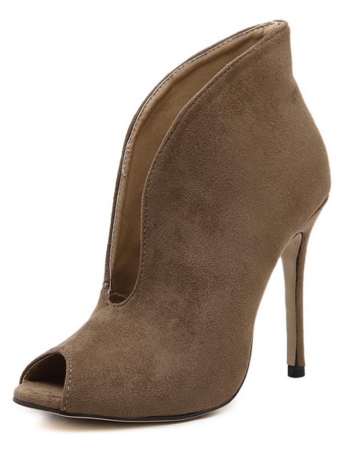 Peep-Toe Stiletto Heel Brown Ankle Boots
