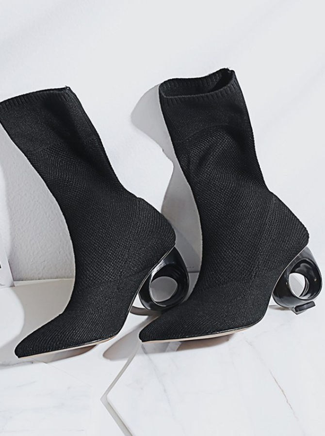 High Heel Black Mid Calf Boots For Women фото