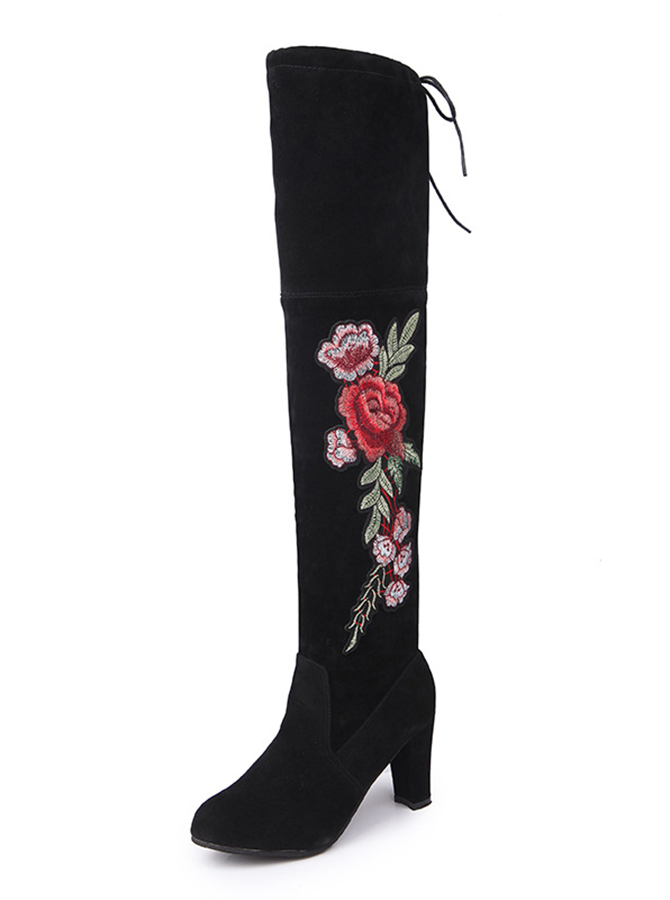 Embroidered Chunky Heel Grey Over The Knee Boots