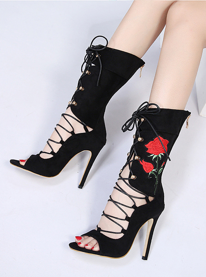 Embroidered Lace Up High Heel Mid Calf Boots фото