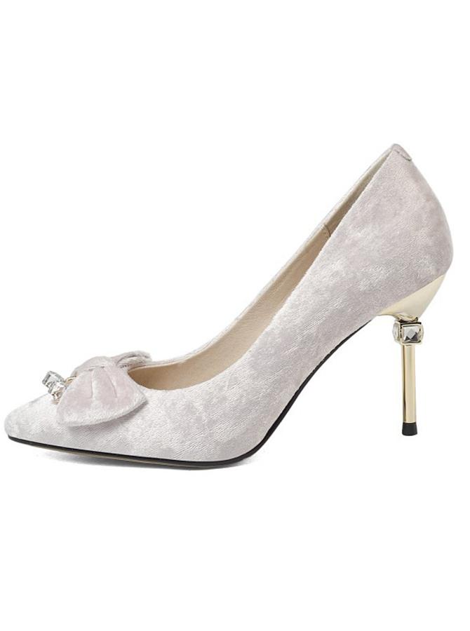 Beige Velvet Stiletto Heels With Bowknot фото