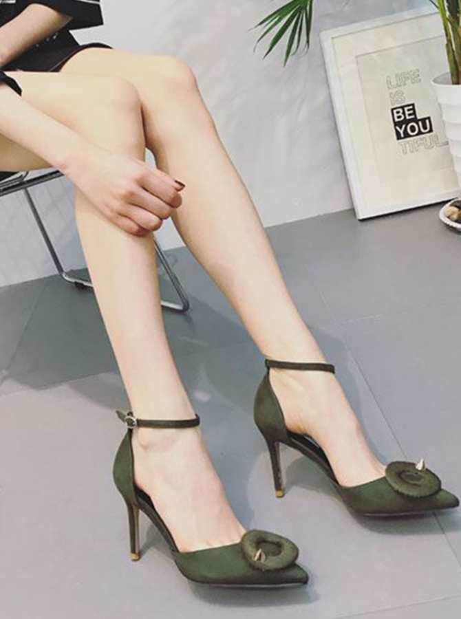 Ankle Strap Closed Toe Green Stiletto Heels