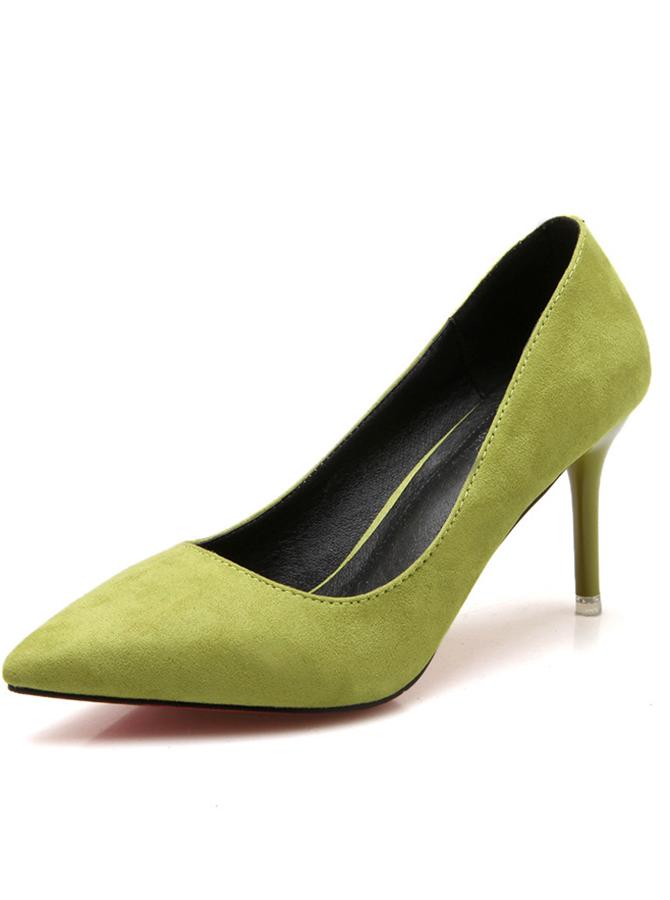 Green Pointy Toe Stiletto Heel Pumps