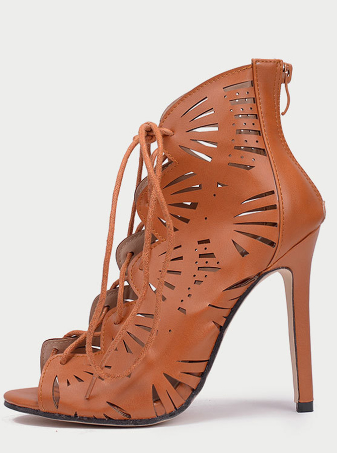 Brown Lace-up Peep Toe High Heels Sandals фото