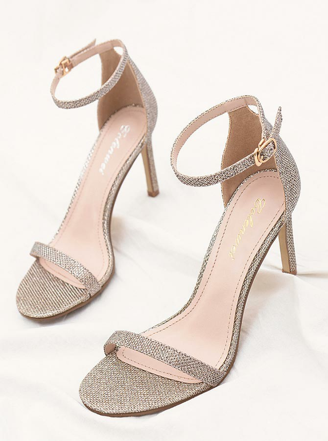 Ankle Strap Open Toe Champagne Stiletto Heels Sandals фото