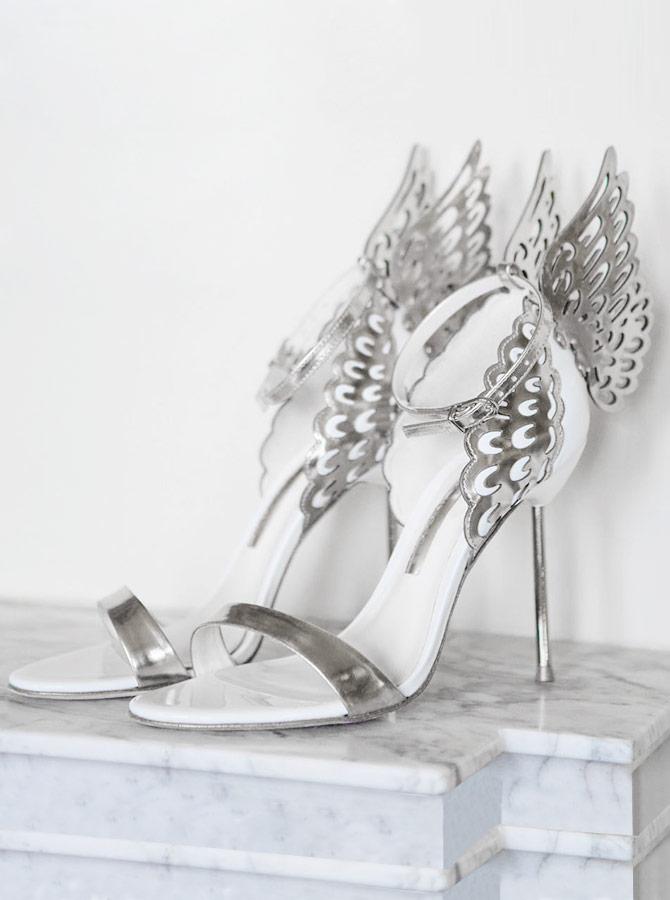 Ankle Strap Silver Butterfly Wedding Stiletto High Heels фото