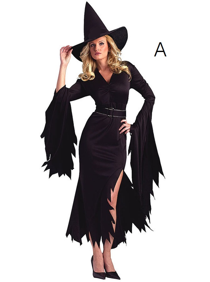Halloween Witch Costume Asymmetry Sheath Sideslit with Witch Hat Sash фото
