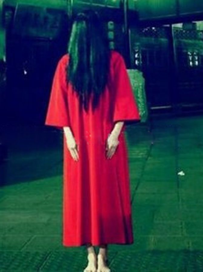 Ankle-Length Loose Ghost Gown Horrible Halloween Costume, Red;white