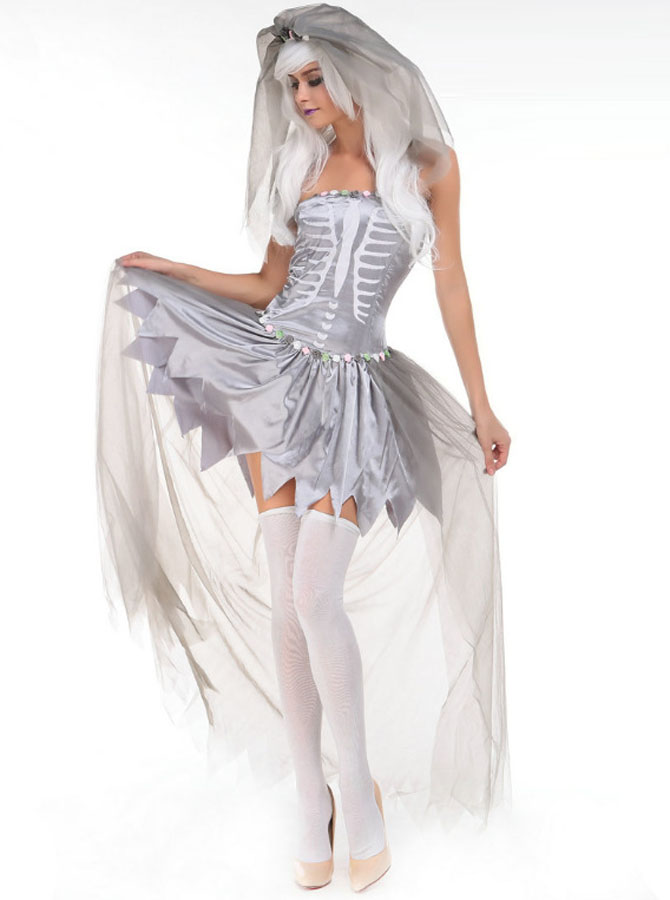 Adult Halloween Costume Zombie Bridal Gown with Veil фото