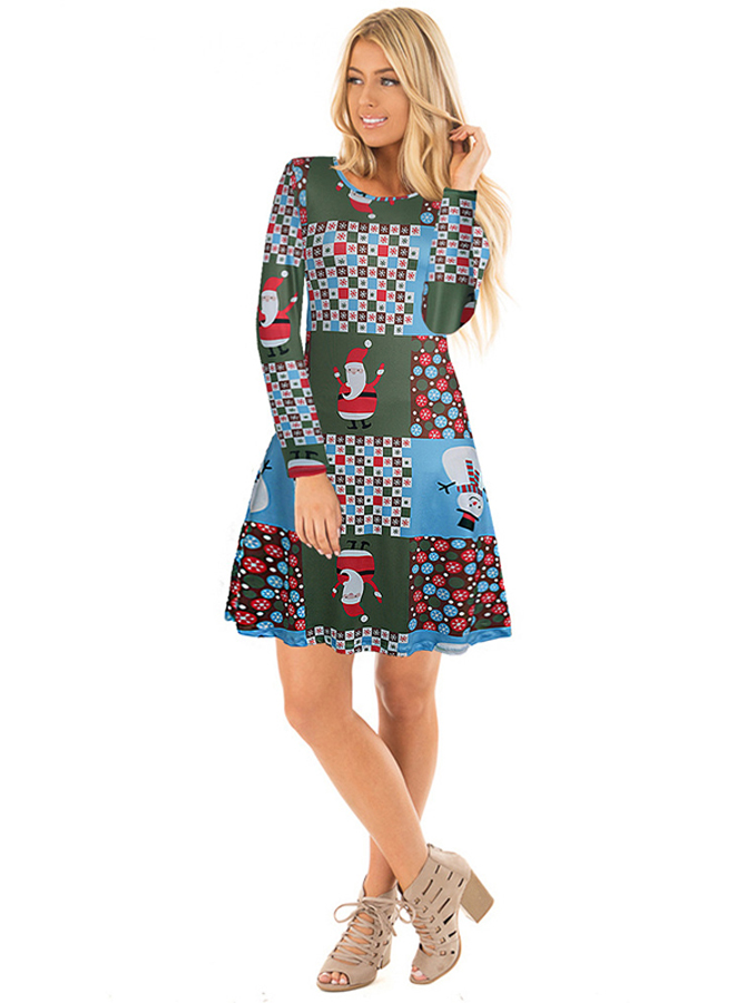 A-Line Crew Neck Long Sleeves Dark Green Christmas Dress thumbnail