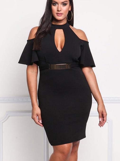 Cold Shoulder Keyhole Plus Size Bodycon Black Dress фото