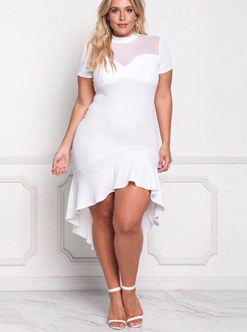 High Low Red Round Neck Plus Size Bodycon White Dress фото