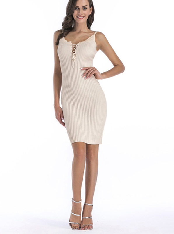Scoop Lace-Up Front Cami Bodycon Dress фото