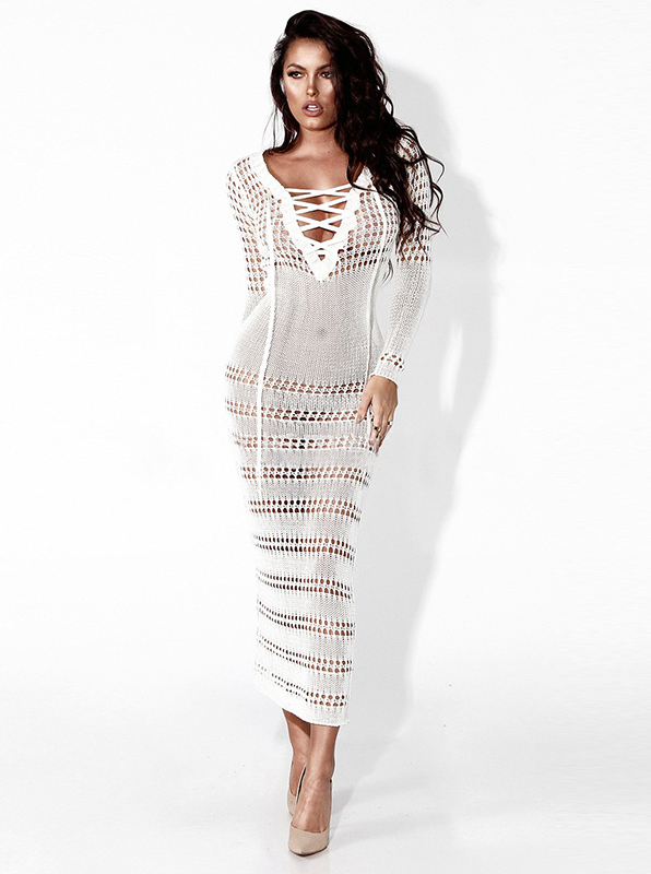 V-Neck Lace-Up Front Long Sleeves Hollow Bodycon Dress фото