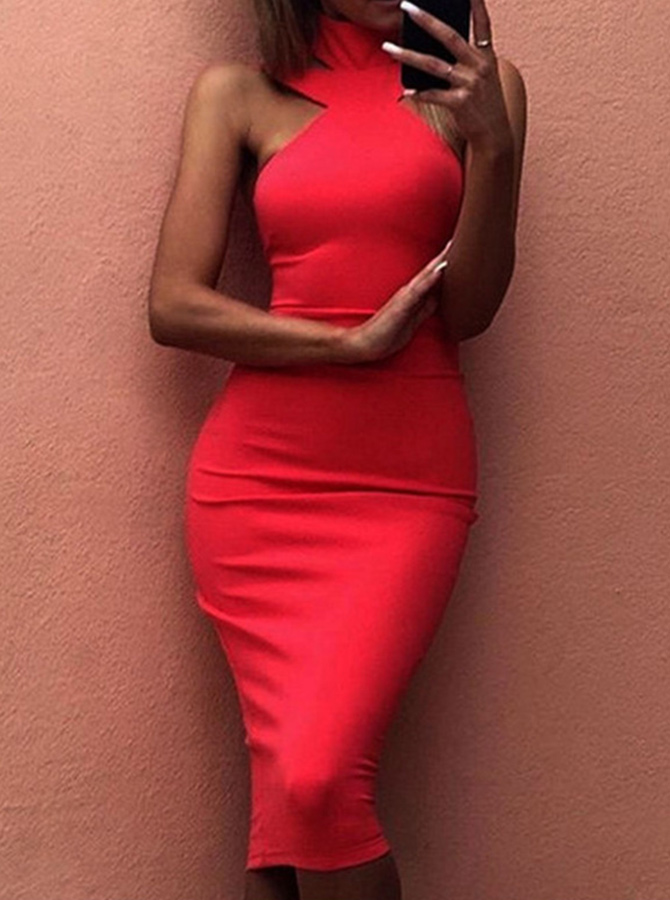 Round Neck Sleeveless Open Back Red Club Dress фото