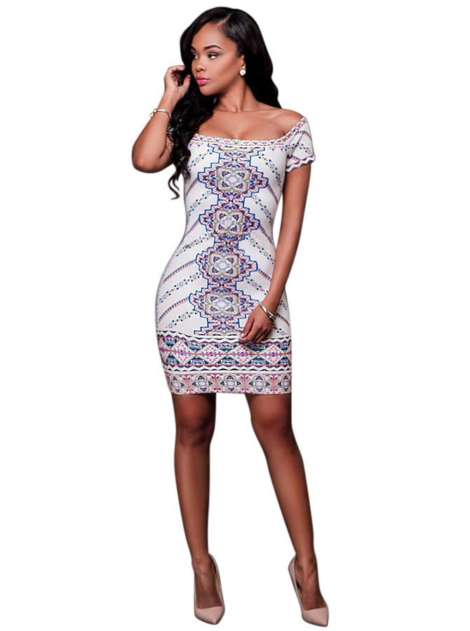 Print Off the Shoulder White Club Dress фото