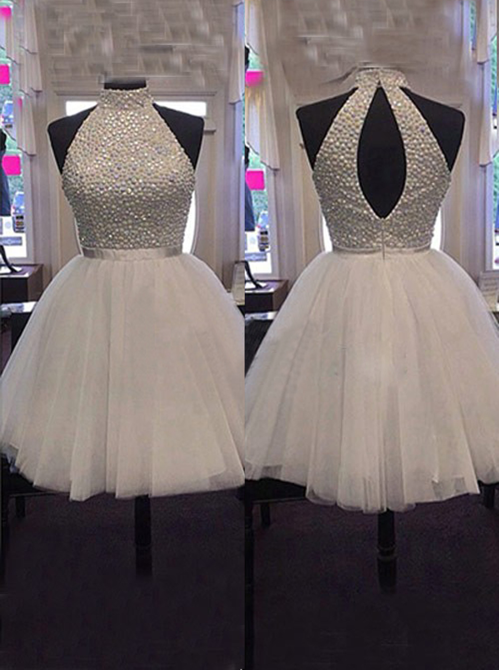Simple-dress / Luxurious Beaded High-neck Short Tulle Homecoming /Party Dress