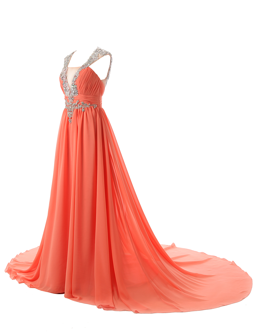 Sexy A-line V-neck Sweep Train Orange Prom Dress With Sequins фото