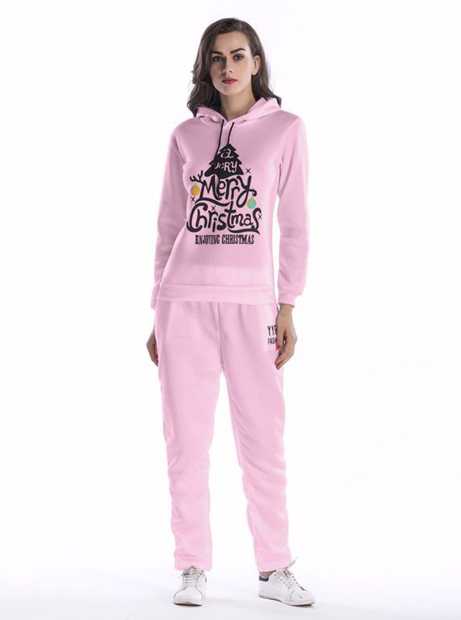Pink Letter Printed Drawstring Hooded Sweatshirt Set with Pockets фото