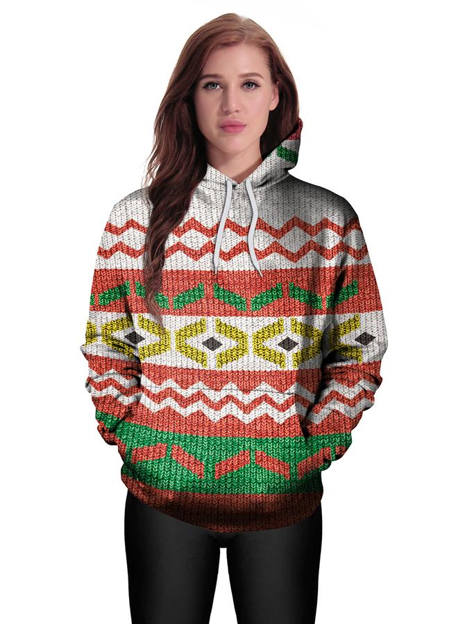Color Block Printed Kangaroo Pocket Drawstring Textured Hooded Sweatshirt фото