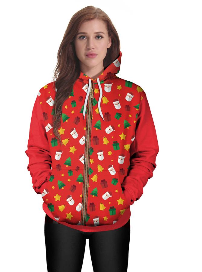 Red Printed Zip Up Drawstring Hoodie Coat with Pocket фото