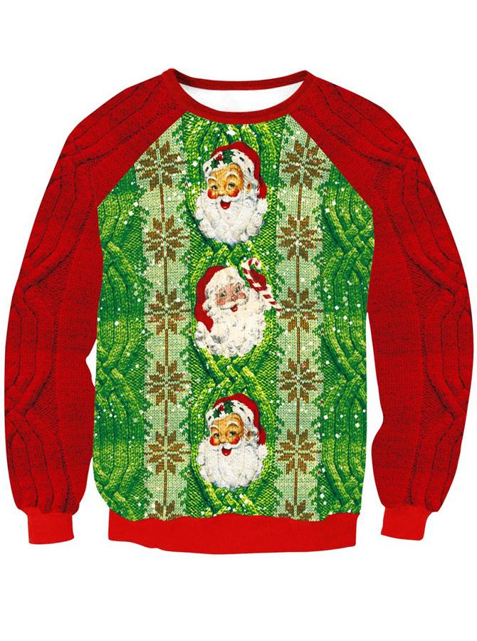 Long Sleeve Santa Claus Printed Knitted Christmas Sweatshirt
