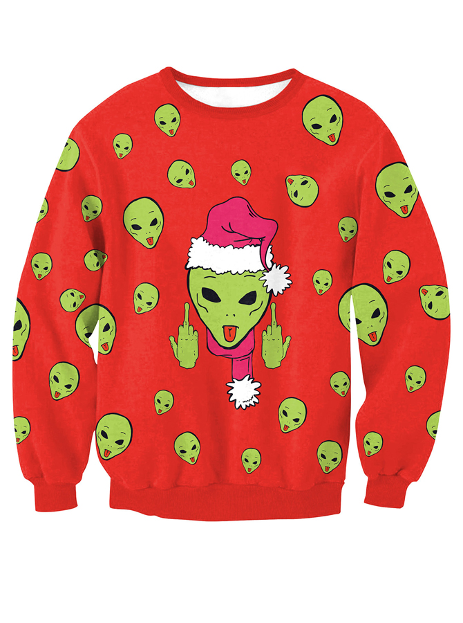 Red Crew Neck Long Sleeve Printed Pullover Sweatshirt фото