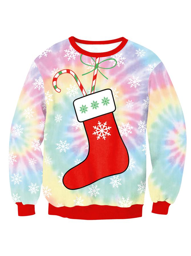 Multi Color Crew Neck Long Sleeve Socks Printed Christmas Sweatshirt