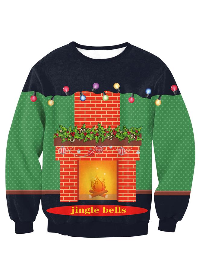 Multi Color 3D Printed Long Sleeve Christmas Pullover Sweatshirt