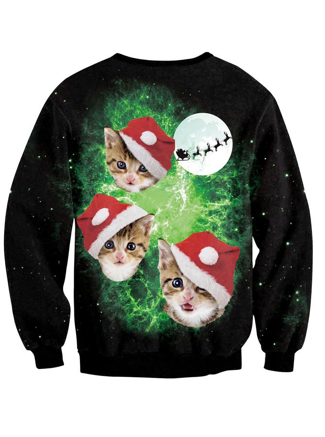 Black Crew Neck 3D Printed Long Sleeve Christmas Pullover Sweatshirt