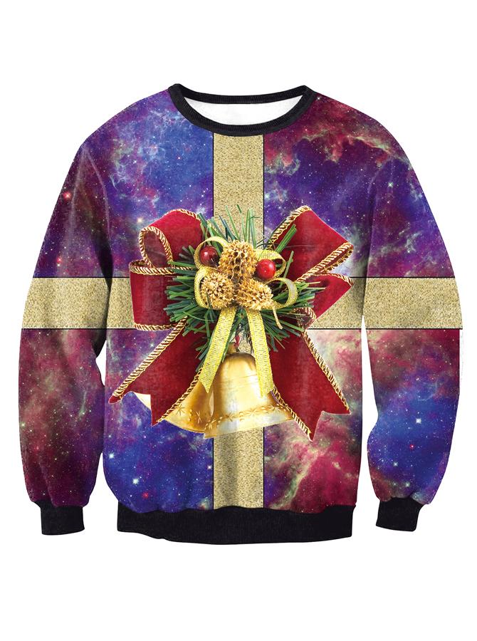 3D Printed Crew Neck Long Sleeve Christmas Pullover Sweatshirt
