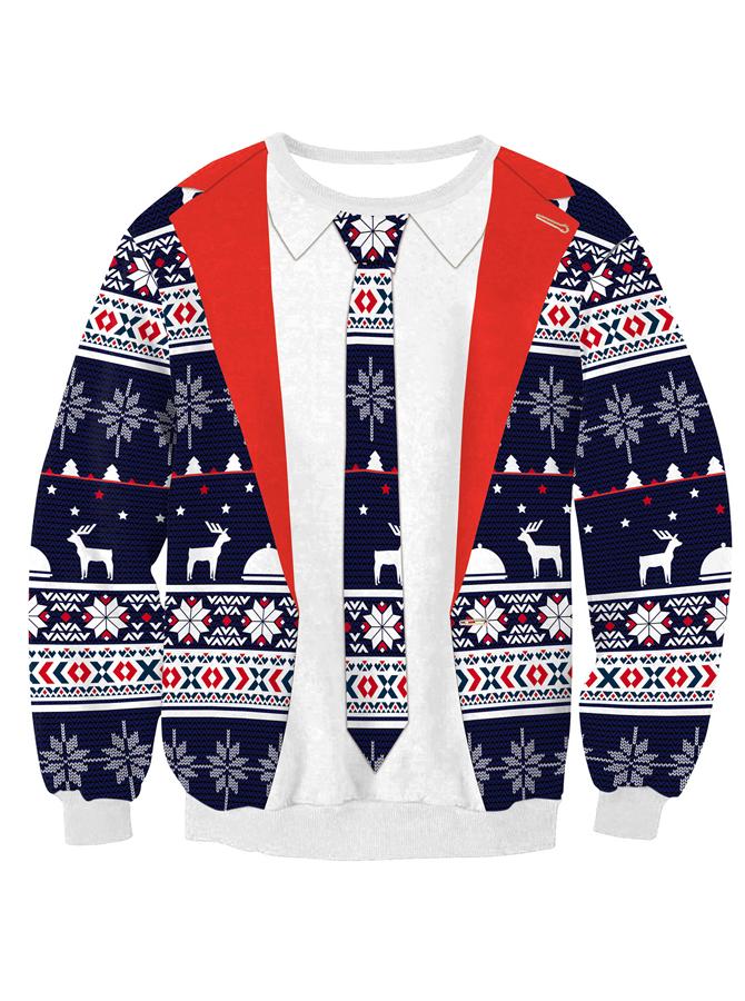 3D Printed Crew Neck Long Sleeve Christmas Sweatshirt
