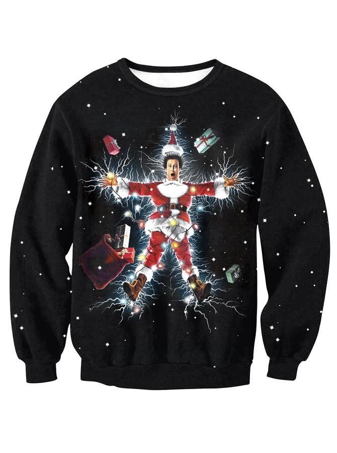 3D Printed Black Crew Neck Long Sleeve Christmas Sweatshirt