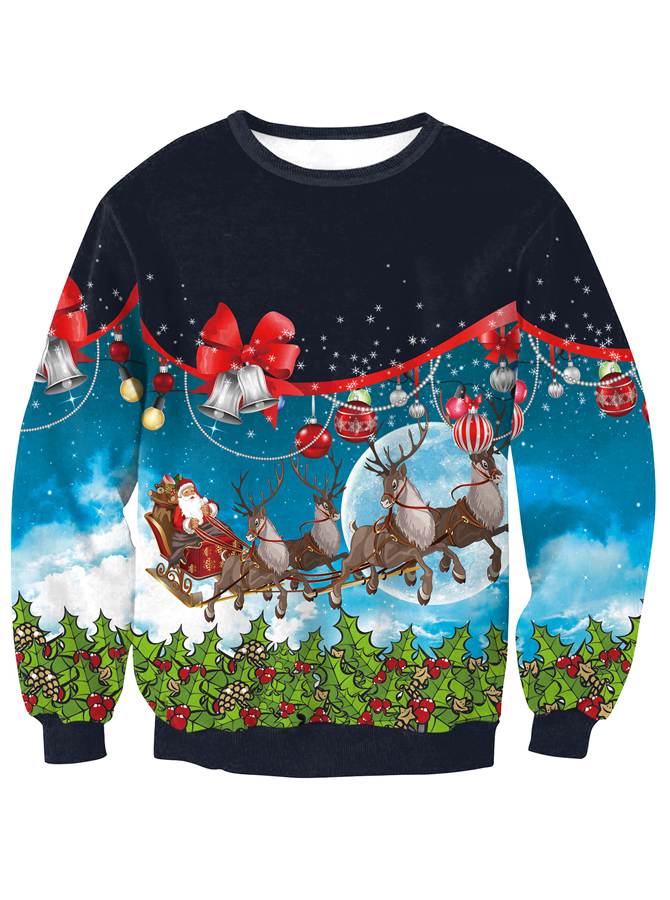 Multi Color 3D Printed Crew Neck Long Sleeve Christmas Sweatshirt